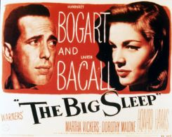 Poster van de film The Big Sleep waarop Humphrey Bogart en Lauren Bacall te zien zijn.
