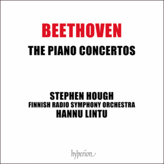 Hoes van de cd 'Beethoven - The Piano Concertos' door pianist Stephen Hough & Finnish Radio Symphony Orchestra olv Hannu Lintu